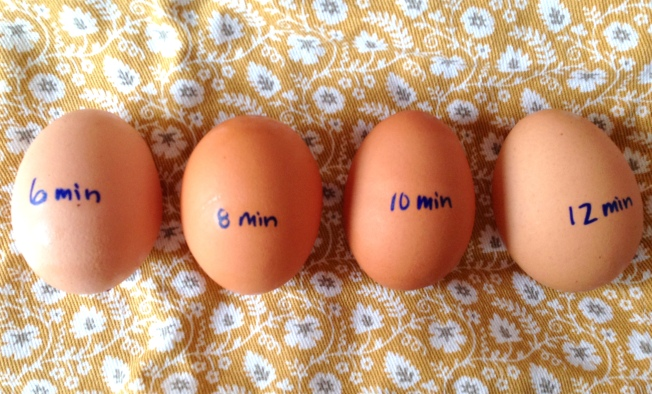 Hard boiled eggs labeled