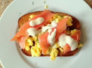 Scrambled Eggs Salmon Toast